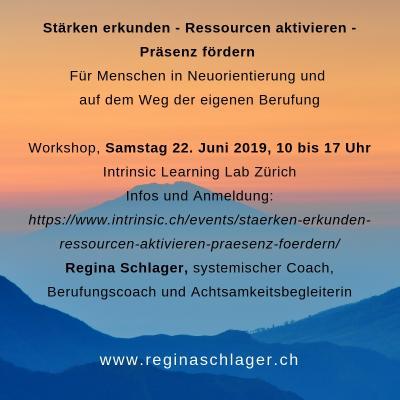 Workshop mit Regina Schlager am 22. Juni 2019 in Zürich